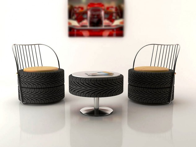 Upcycled tyres interior