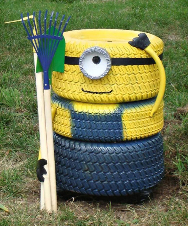 Upcycled Minion Made From Tyres