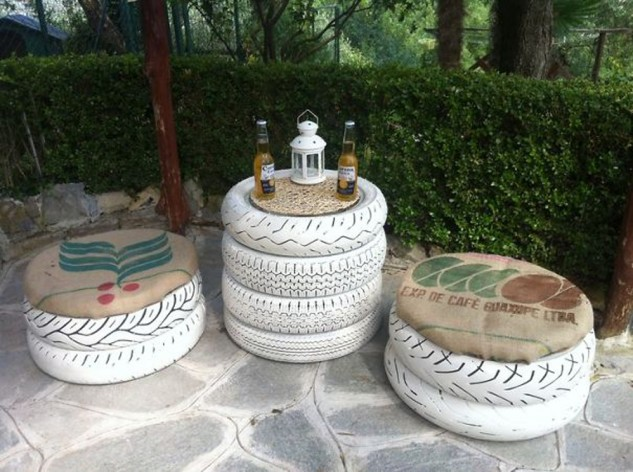 Stylish upcycled garden area