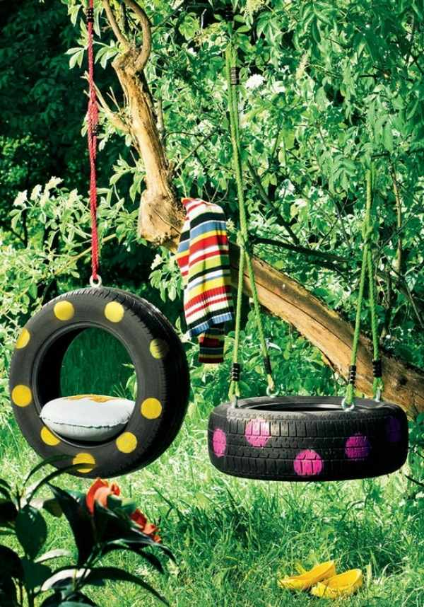 Upcycled swings which kids will enjoy