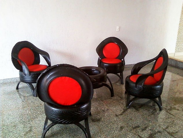 Upcycled interior table and chairs