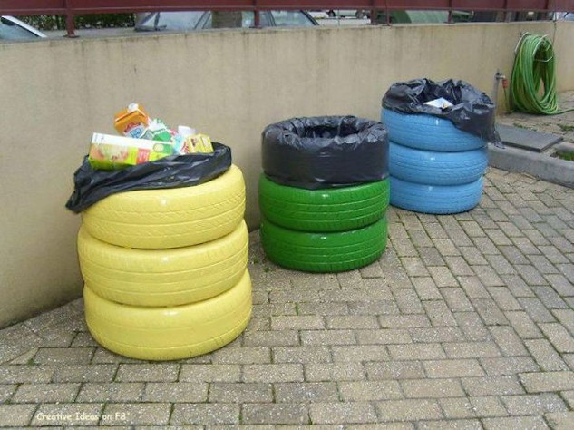 Recycle bins made from tyres