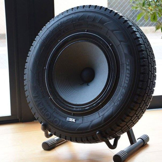 Upcycled tyre subwoofer