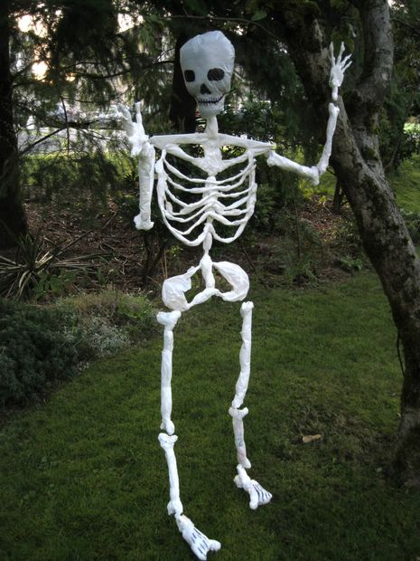 Skeleton Made out From Garbage Bags